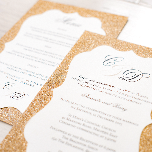 Gold Sparkle Custom Designed Invitations Melbourne | Very Inviting Couture Invitations