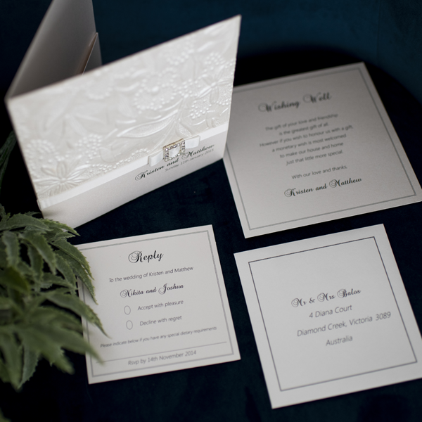 Embossed Custom Designed Invitations Melbourne | Very Inviting Couture Invitations