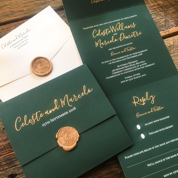 green velvet Custom Designed Invitations Melbourne | Very Inviting Couture Invitations
